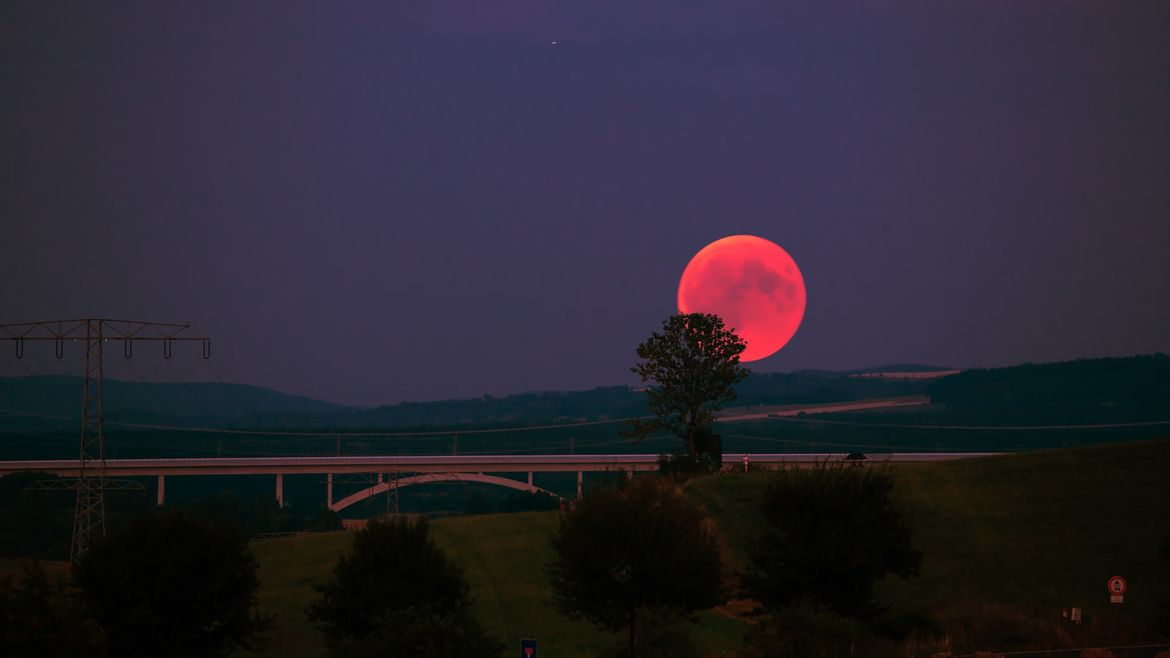 Cover Photo: This photograph shows a blood moon rising above highways, a bridge, and some telephone wires. The trees and grass are green, the sky is a deep purple, and the moon is bright red,