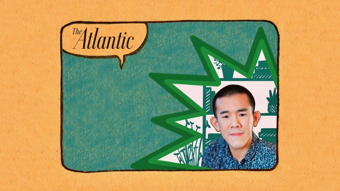 Cover Photo: comic panel-style illustration with a photograph of the interview subject, journalist Ed Yong, inset on the right in a green cutout star shape, with the Atlantic logo in the upper left corner, against a teal-blue background