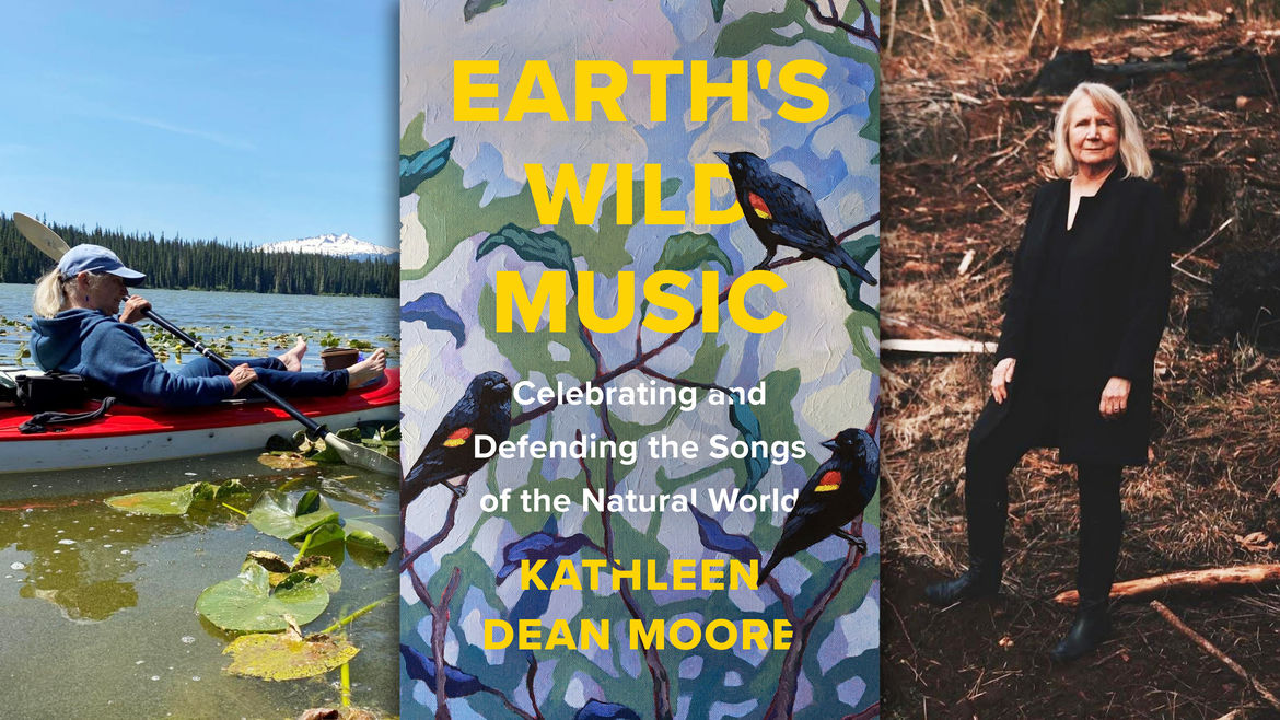 Cover Photo: An image of the author's book cover, the author in a boat, and the author in the in a forested area