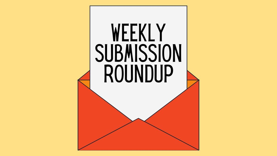 """Cover Photo: In the middle of a butter-yellow background, we see an open red envelope. A page of paper is coming out of the envelope, and the words read """"Weekly Submission Roundup."""""""
