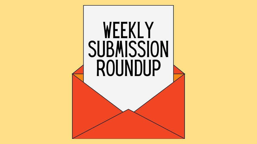"Cover Photo: In the middle of a butter-yellow background, we see an open red envelope. A page of paper is coming out of the envelope, and the words read ""Weekly Submission Roundup."""
