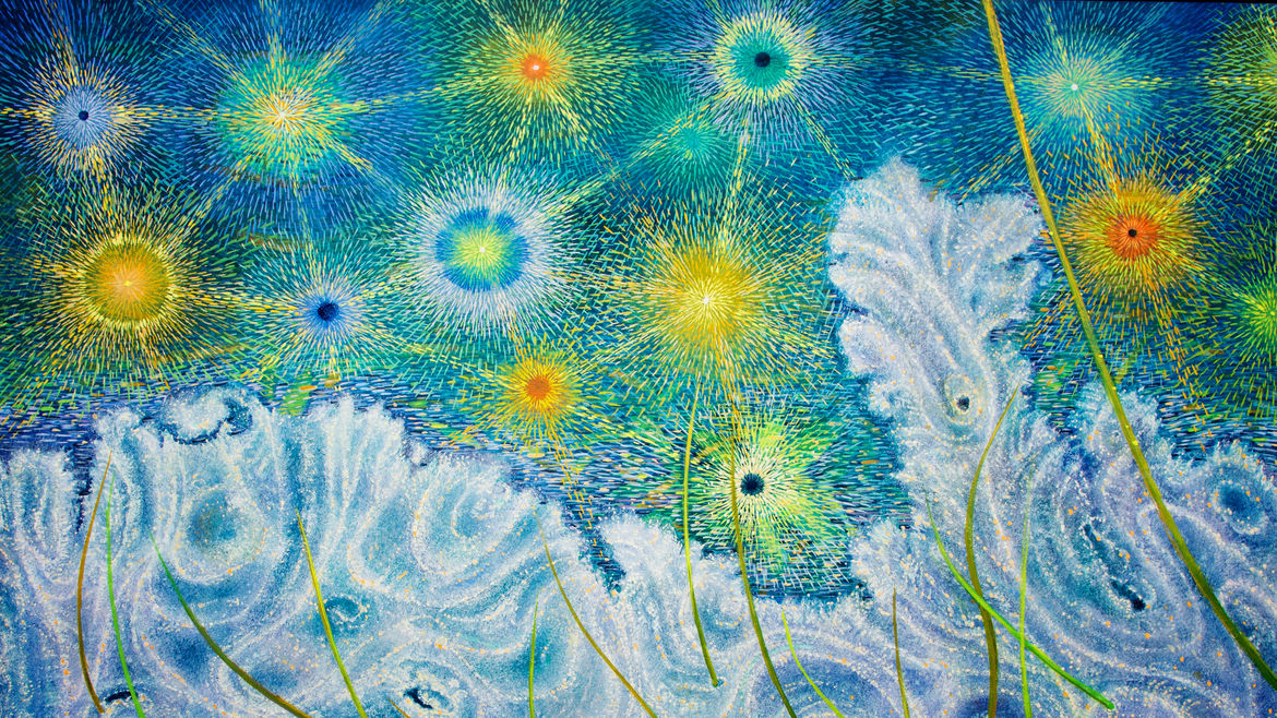 Cover Photo: photograph of a painting depicting a starry field in shades of yellow, green, and blue, above an abstract, large feathery pale blue body that could be ocean waves