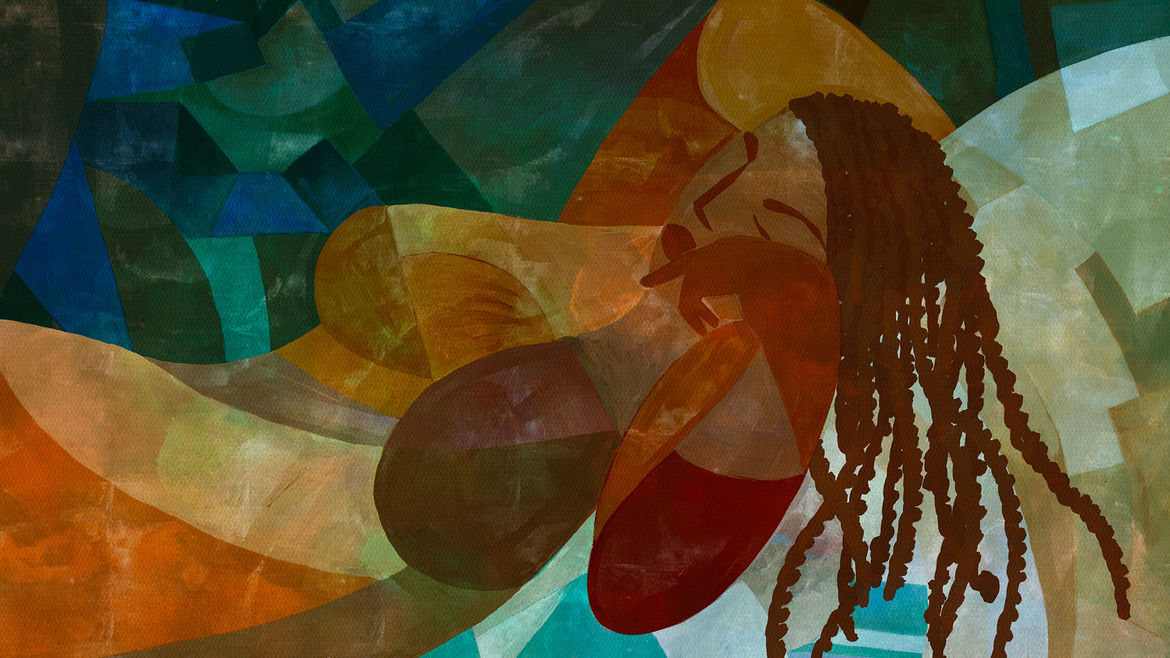Cover Photo: abstract nude of a reclining woman with dark brown braids whose skin is a variety of brown and caramel shades, dark and light shadows meant to evoke crystalline-sugar highlights