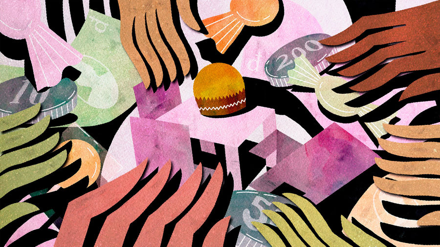 Cover Photo: An illustration of many grubby hands fighting over money and candy and a Ferrero Rocher chocolate