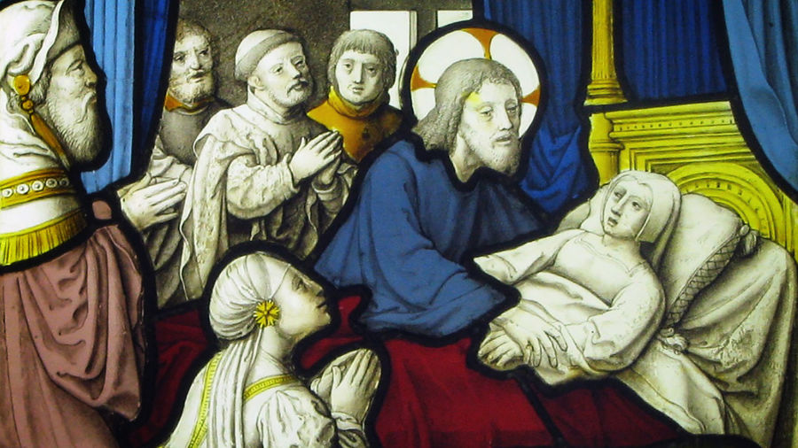 Cover Photo: detail from a 16th-century painting of Jesus Christ healing Jairus's daughter: Christ, in a blue robe, grasps the daughter's hand; she is all in white, lying in a gold bed, surrounded by onlookers