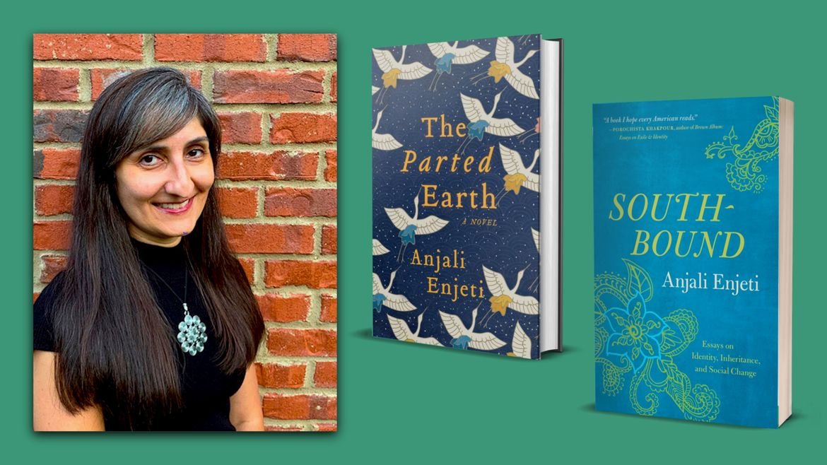 Cover Photo: This graphic is a dark kelly green, with a photograph of the author posing in front of a red brick wall on the right. On the left hand side, we see the covers of her two books, THE PARTED EARTH and SOUTHBOUND