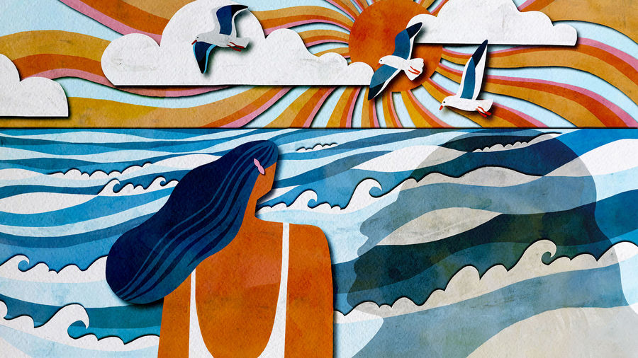 Cover Photo: A beautiful illustration of a sun setting as waves of pink and orange meander across a sky with clouds and seagulls flying and an ocean of different blues and the shadow of the protagonist's mother is cast against the ocean as the protagonist stands on the shore and looks out