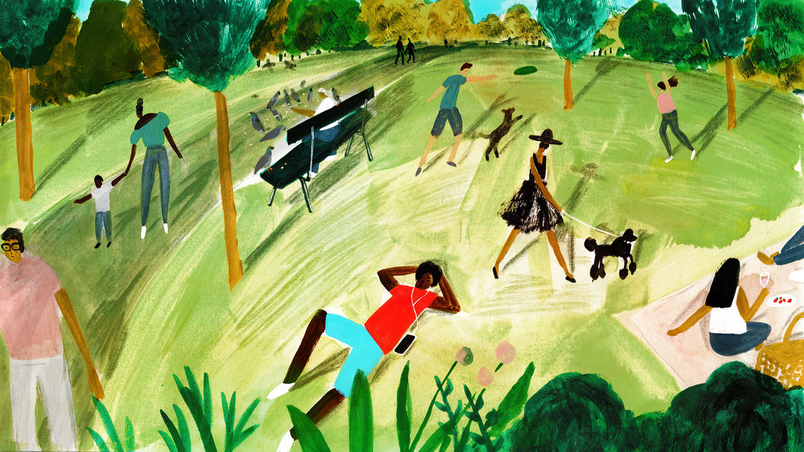 Cover Photo: A lively, lush spring/summer park scene depicting people walking dogs, playing with their children, tossing a frisbee, feeding pigeons, sitting on benches and on the grass