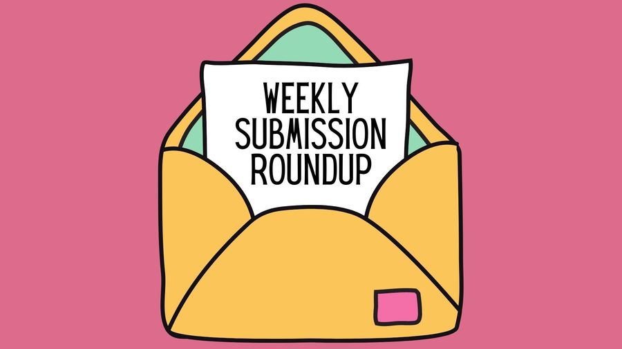 "Cover Photo: This graphic is bright and happy. It has a pink background with a cartoon-y envelope in the center. The envelope is yellow on the outside with a mint green inside flap. Coming out of the envelope, we see a sheet of paper that reads ""Weekly submission roundups"""
