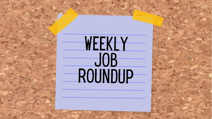 "Cover Photo: This graphic has a background that looks like cork board. In the center of the image, we see a purple sticky note with yellow tape. On the sticky note are the words, ""weekly job roundup"""