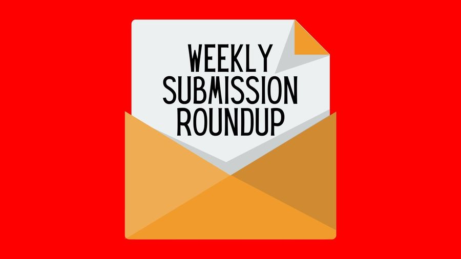 """Cover Photo: This graphic has a bright red background with a yellow envelope in the center. Emerging from the envelope is a sheet of paper that reads """"weekly submission roundup"""""""
