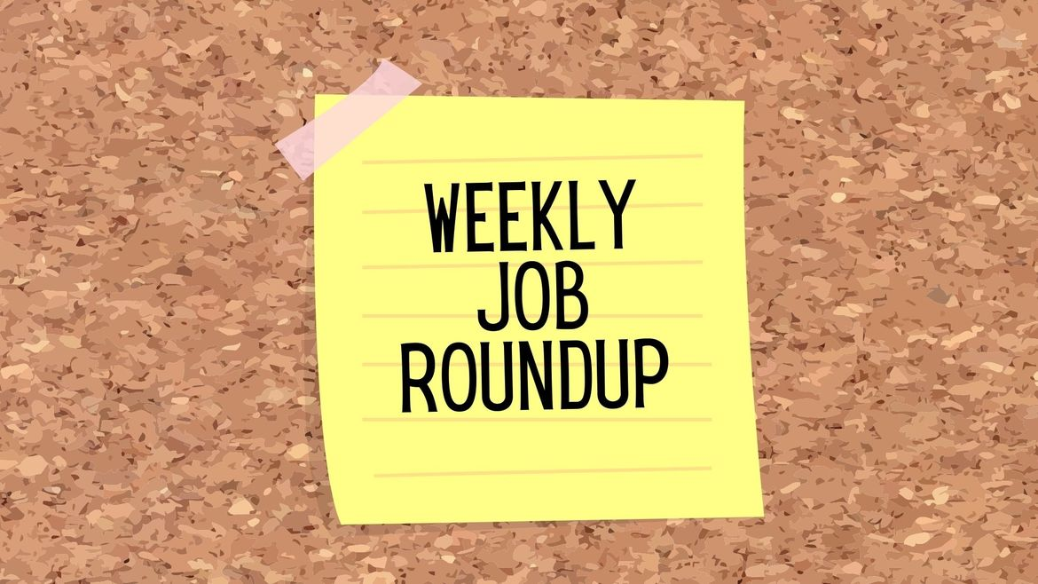"""Cover Photo: This graphic has a background that looks like a cork board. In the center, there is a yellow sticky note, stuck to the cork board with a piece of pale pink tape. The sticky note has writing that reads """"weekly job roundup"""""""
