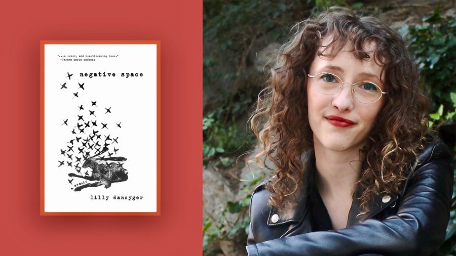 """Cover Photo: On the left is the cover of Lilly Dancyger's memoir Negative Space. The cover is her father's drawing of a rabbit with small """"X""""s surrounding it. On the right is an image of Lilly. She has light skin, blonde curls, oval glasses, and is wearing a leopard print shirt."""