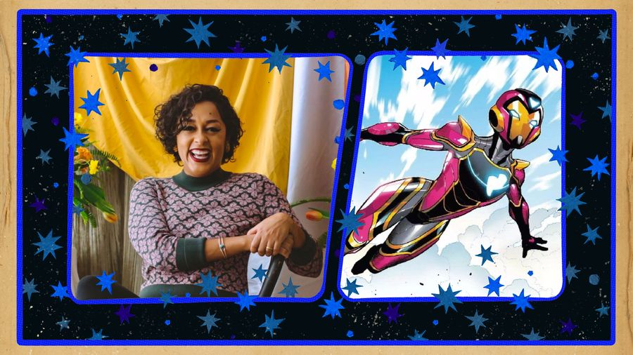 Cover Photo: on the left: a photograph of Dr. Eve. L Ewing seated in a chair, smiling and wearing a dark green and rose sweater; on the right: a Marvel comics illustration of Riri Williams (Ironheart) in flight; both images are set against a dark starry background
