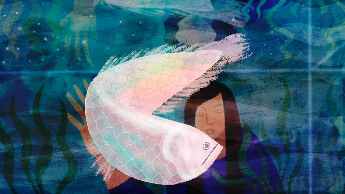 Cover Photo: An illustration of a woman peering into a fish tank that holds a large silver arowana