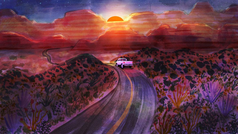 Cover Photo: An illustration of a shrubland/desert scene in the American Southwest