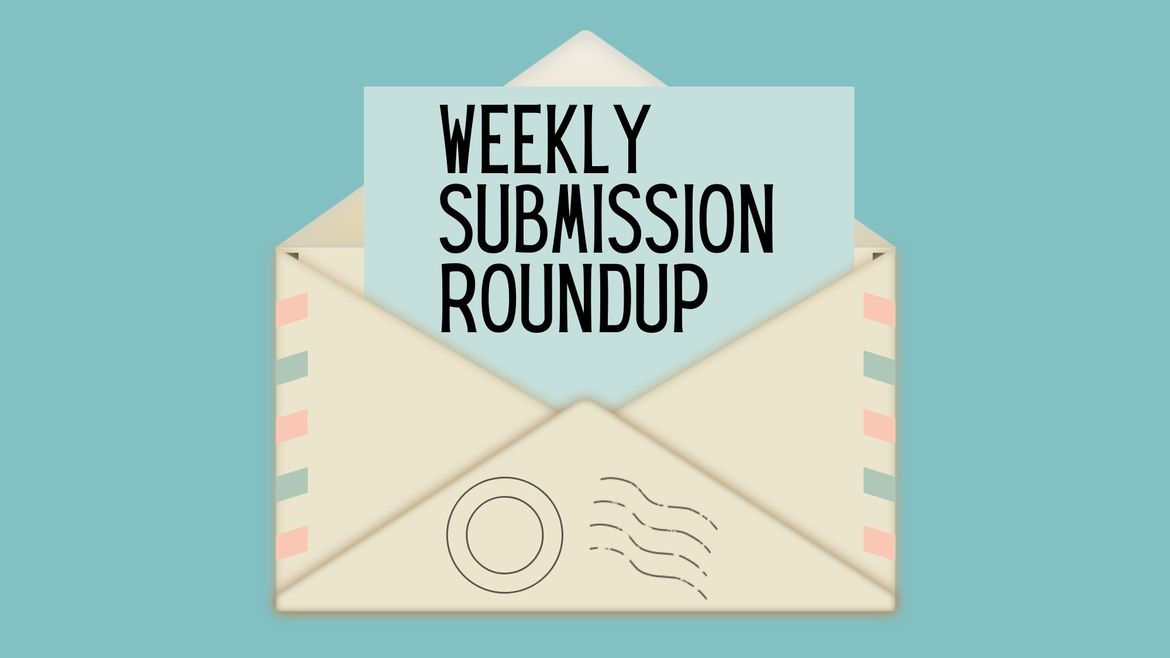 """Cover Photo: This graphic has a teal background with an envelope in the center. The envelope has red and blue stripes, signifying air mail, and a piece of paper emerging from the envelope reads """"weekly submission roundup"""""""
