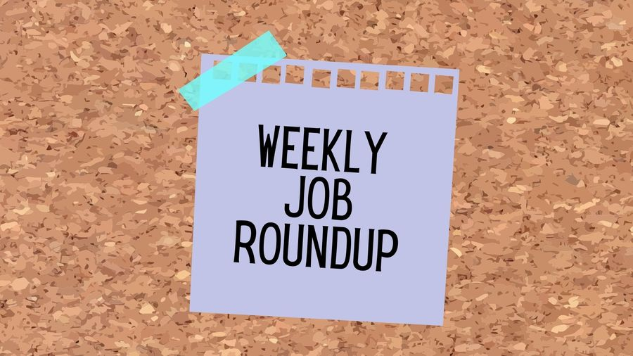 """Cover Photo: This graphic has a background that looks like a cork board. In the center, there's a purple sticky note with blue tape holding it up by one corner. The sticky note reads """"Weekly Job Roundup"""""""