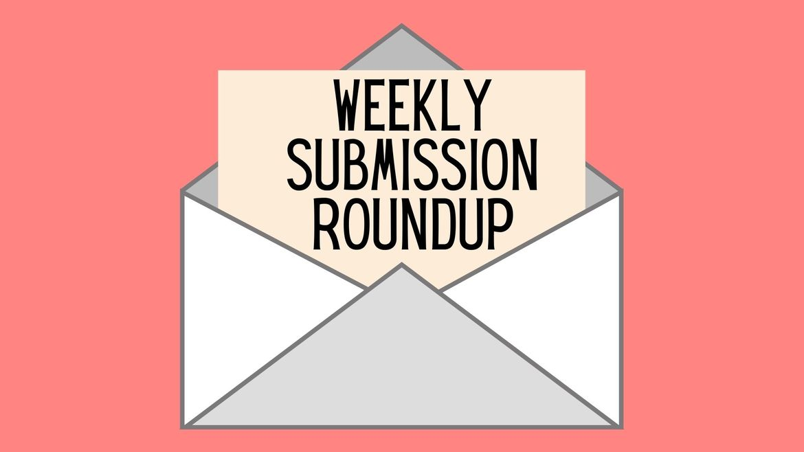 """Cover Photo: This graphic has a bright salmon pink background. In the middle there is a gray envelope with a sheet of paper coming out of it that reads """"Weekly Submission Roundup"""""""