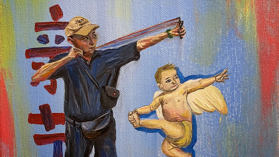 Cover Photo: A painting by the author depicting her father using a slingshot