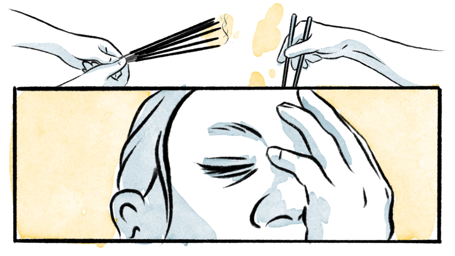 Cover Photo: a bisected illustration—image on top: hands holding incense sticks, a hand holding chopsticks; image below:  a person with their hand pressed to their face, their eyes closed, as if in pain