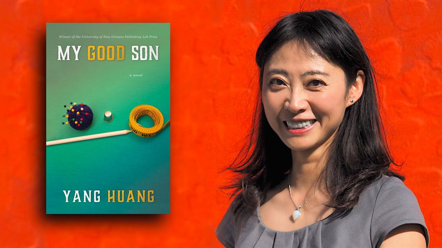 Cover Photo: This photograph has a bright red background and features a picture of the author Yang Huang on the right. On the left, we see a cover of Yang's novel, MY GOOD SON