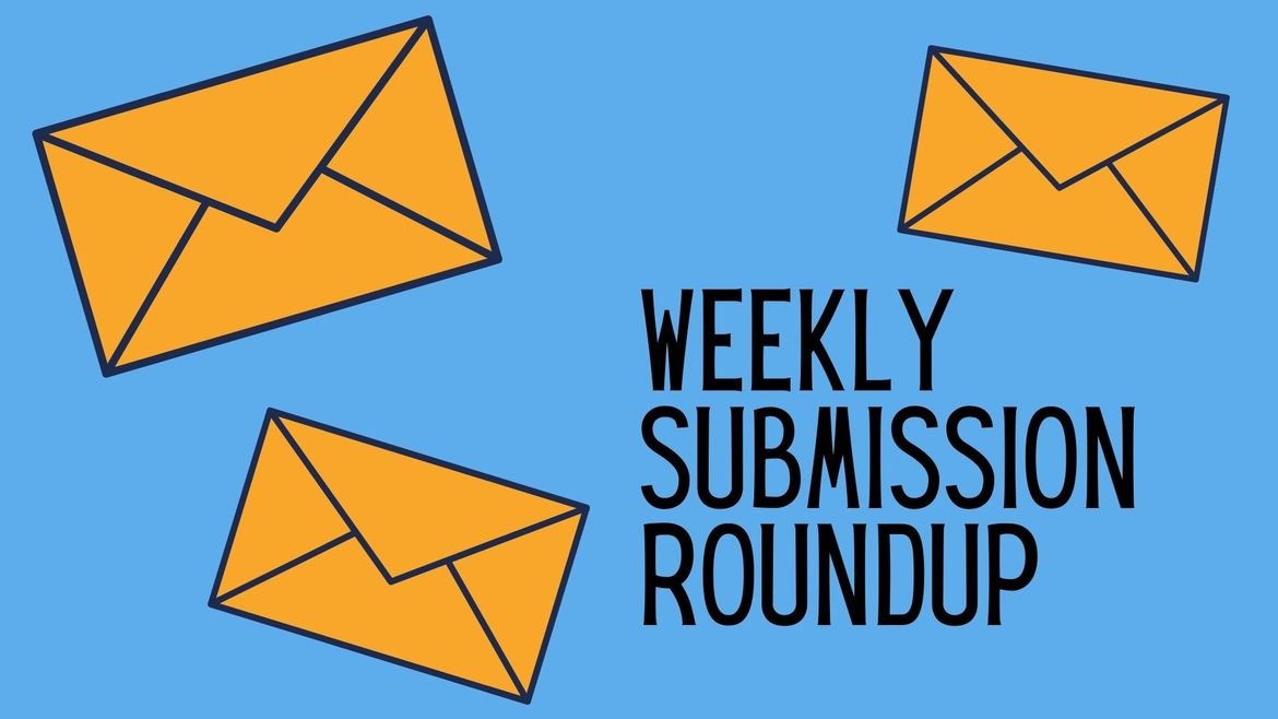 """Cover Photo: This graphic has a bright blue background. There are three yellow envelopes scattered across the background, as if someone dropped them from a height and they are falling to the ground. There is text on the right side of the graphic that reads """"Weekly Submission Roundup"""""""