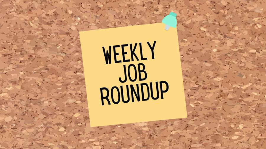 """Cover Photo: The background of this graphic looks like cork board and at the center there is a piece of paper pinned to the board with a pushpin. The paper reads """"Weekly Job Roundup"""""""