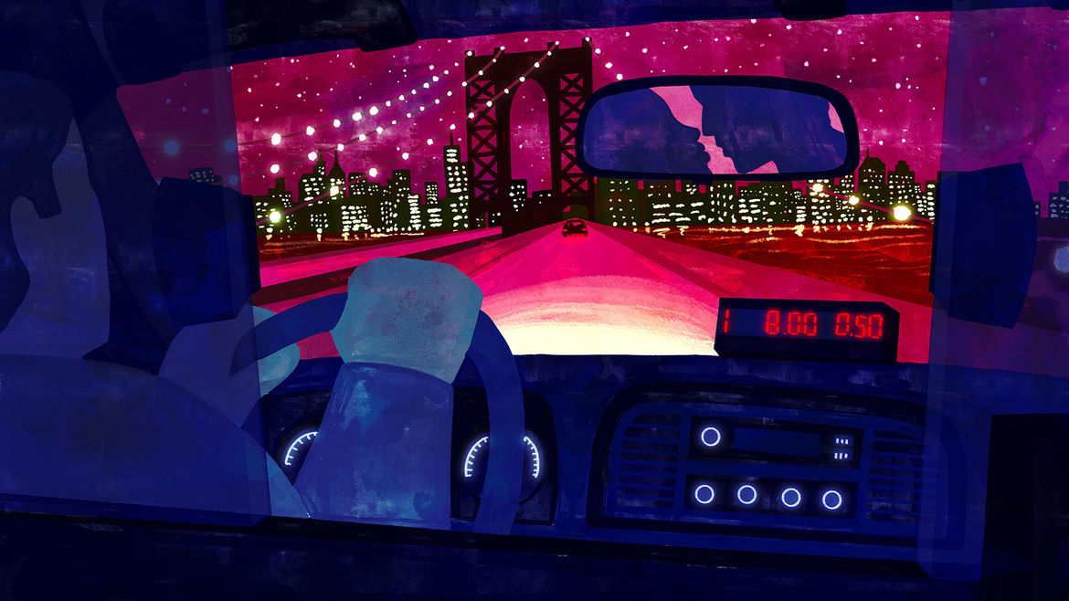 Cover Photo: In this illustration, we are looking across the Brooklyn Bridge from the backseat of a taxi cab. We can see the driver and the front of the cab and beyond the windshield we see the bridge and a shoreline filled with bright buildings. Everything is in deep pinks and purples, like a dark and insulated winter night. In the rearview mirror we see the outlines of two people about to kiss.