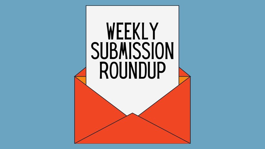 """Cover Photo: This graphic has a slate blue background. In the middle, a red envelope has a piece of paper poking out of it that reads """"Weekly Submission Roundup"""""""
