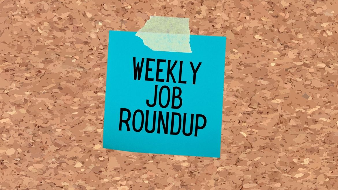 """Cover Photo: This graphic has a background that looks like a cork board. In the center, there is a blue note, stuck to the board with a green piece of tape. In the center, the sticky note reads """"Weekly Job Roundup"""""""