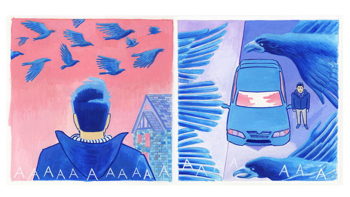 """Cover Photo: There are two comic panels. The one on left is the back of cartoon version of Andrew Lorenzi's head looking up at crows flying overhead. It is drawn in surreal colors so the crows are blue and the sky is light pink. The second frame is from above, looking down at Lorenzi and his car in between the crows feathers. The ground below Andrew is lavender and his looks like his frowning. Written across the two frames is """"AAAAAAAAAAA"""" in uneven letters to signify the crows' calls."""