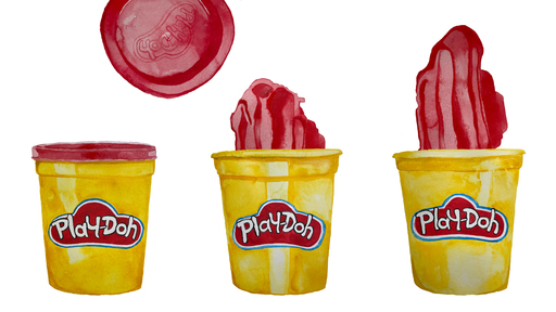 Cover Photo: An illustration of three pots of Play-Doh