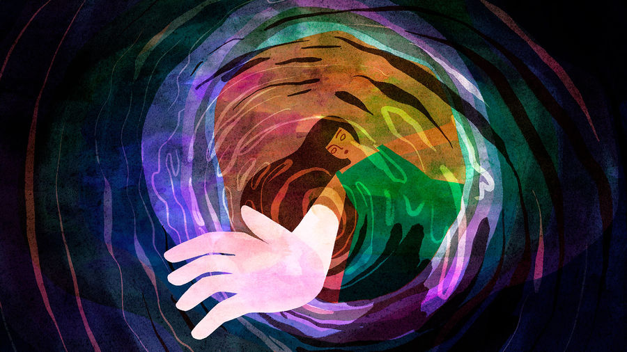 Cover Photo: Colorful watercolor of a child with a green dress and long hair reaching into a dark hole. The drawing is from the perspective of inside the hole, looking up at the child reaching in and her hand is very close up.  Light is coming from behind the child, but around the edges of the hole is dark.