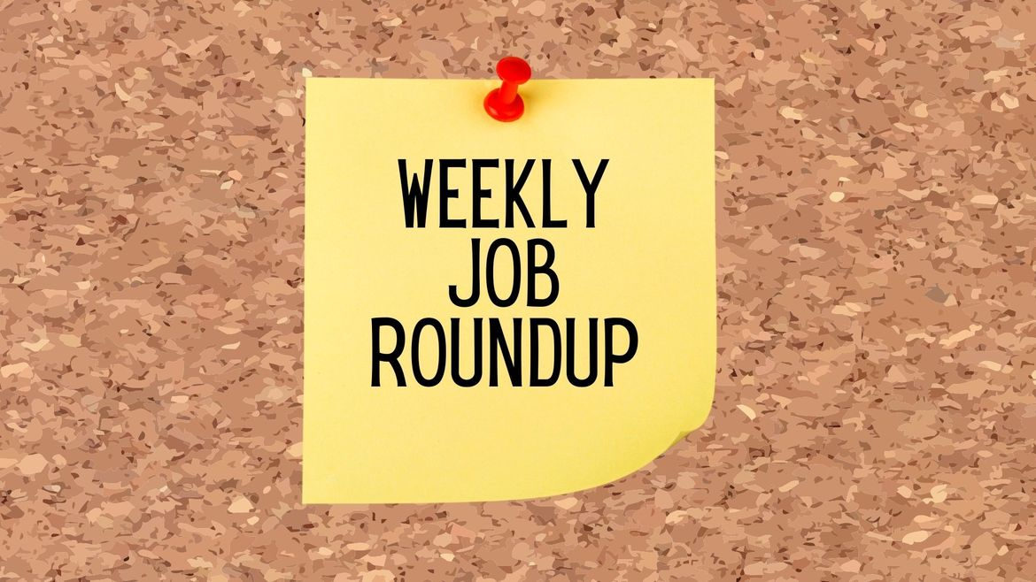 """Cover Photo: This graphic has a background that looks like cork board. In the center of the image, there is a yellow sticky note with a red pin that reads """"Weekly Job Roundup"""""""