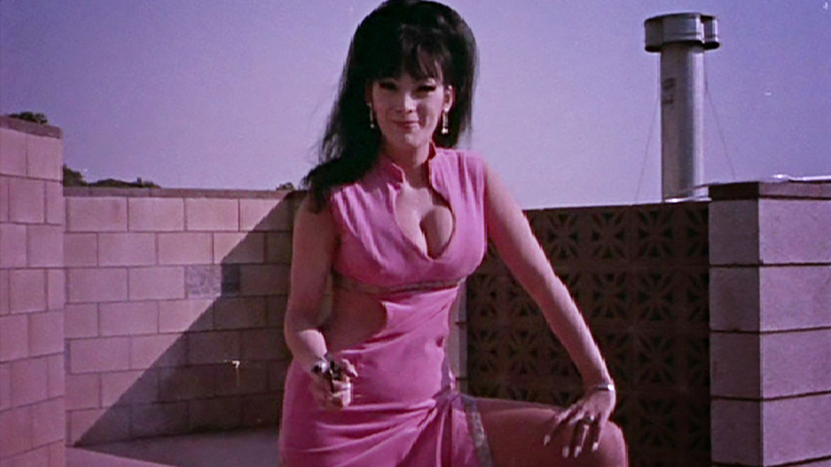 Cover Photo: actor Tura Satana in a bright pink dress with cutouts, one hand resting on a propped-up leg, the other pointing a gun offscreen
