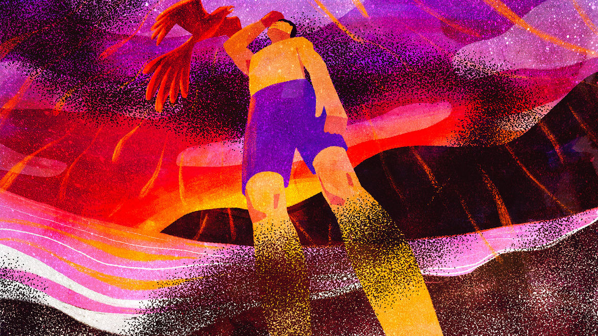 Cover Photo: a man standing on an abstract beach depicted in shades of black, purple, and fiery red, with ashes swirling around and a red phoenix flying overhead