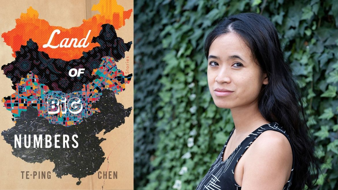 Cover Photo: An image of Land of Big Numbers and a headshot of the writer Te-Ping Chen