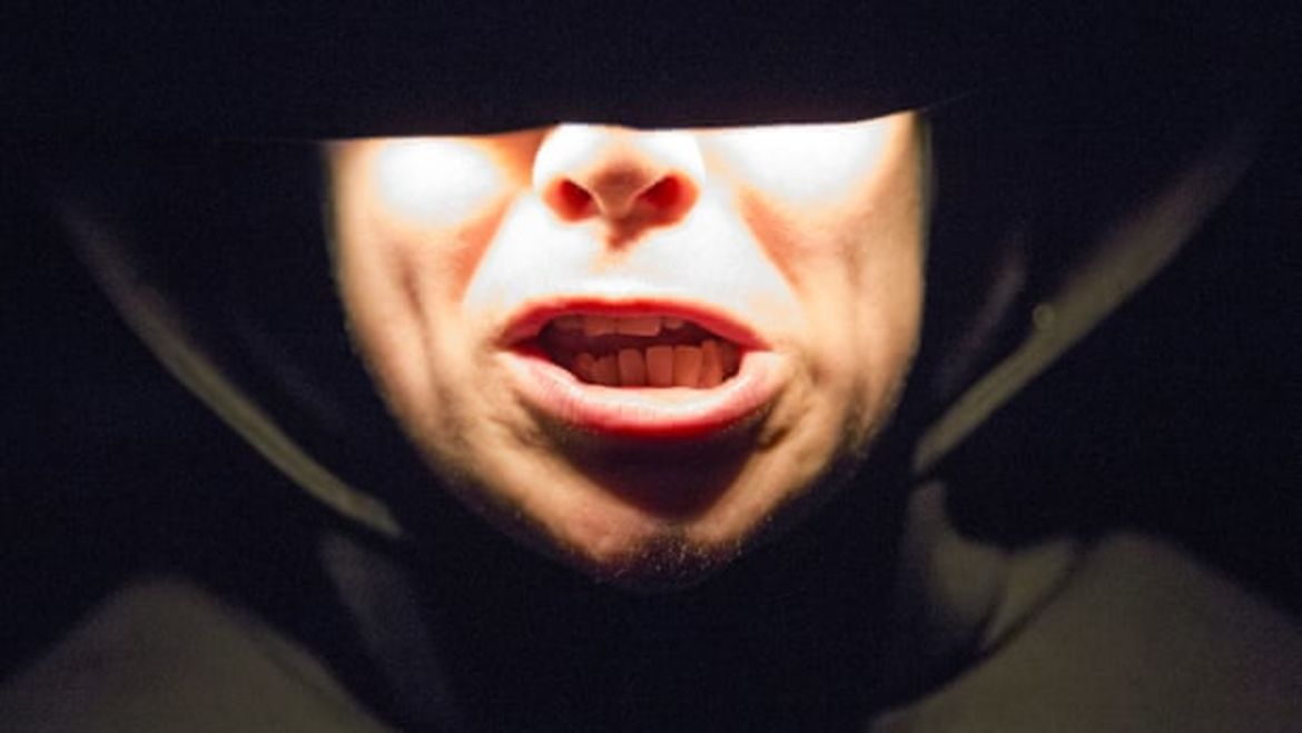 Cover Photo: This photograph shows a close up of the actor Jess Thom's mouth as she performs in Beckett's short play, 'Not I'