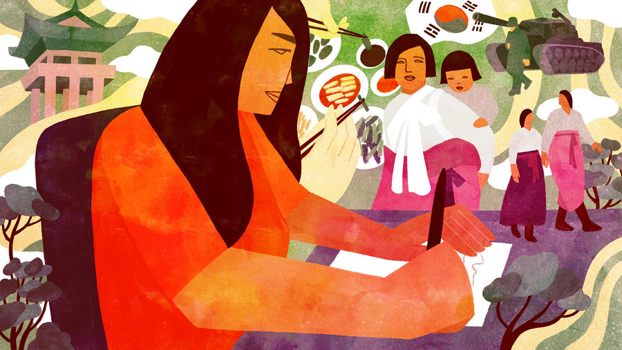 Cover Photo: A Korean American woman writes at her desk and is surrounded by different scenes