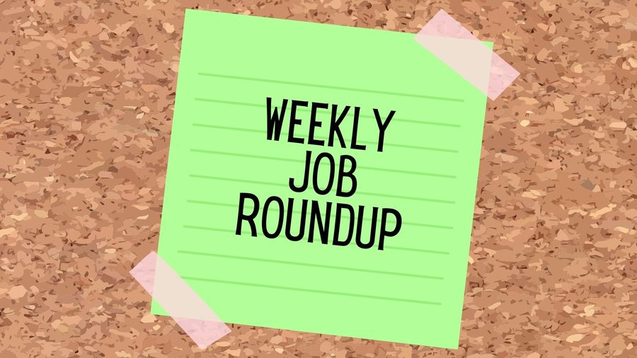 """Cover Photo: This graphic has a background that looks like a cork board. In the middle of the image, there is a green sticky note that reads """"Weekly Job Roundup"""""""