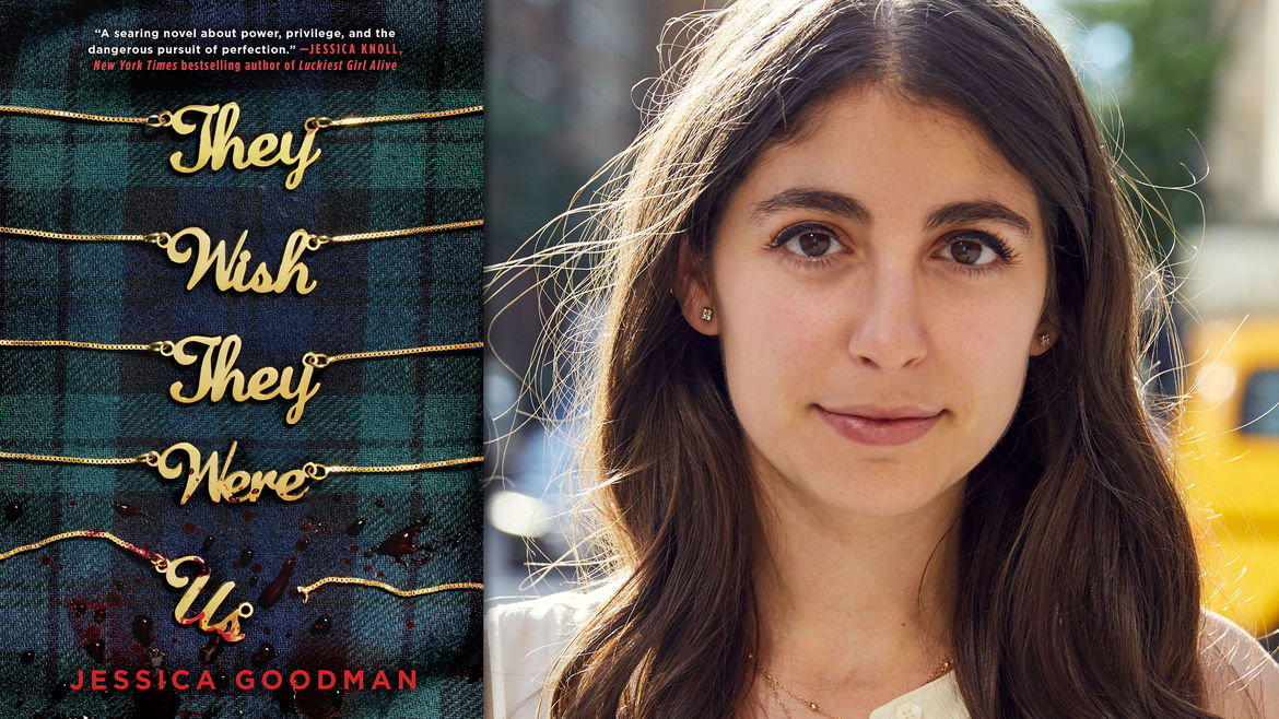 Cover Photo: The cover of Jessica Goodman's novel, They'll Never Catch Us, beside her author headshot