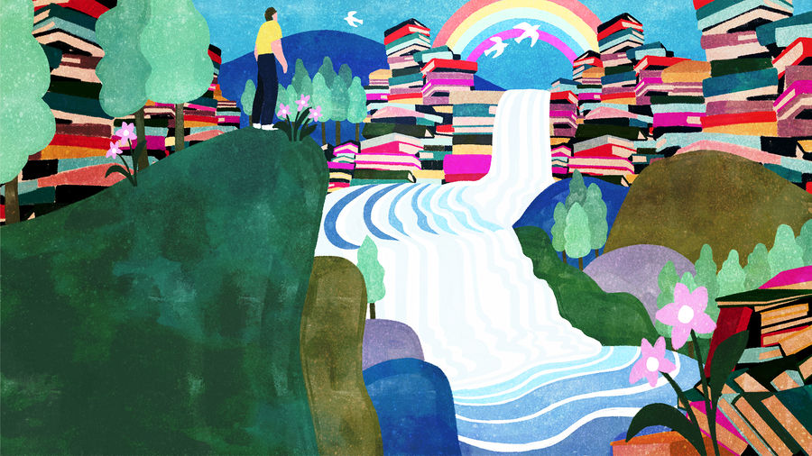 Cover Photo: bright illustration of a figure in a yellow shirt and dark blue pants standing on a green ridge overlooking a waterfall flowing down over mountains made of books, a rainbow and white birds in the distance