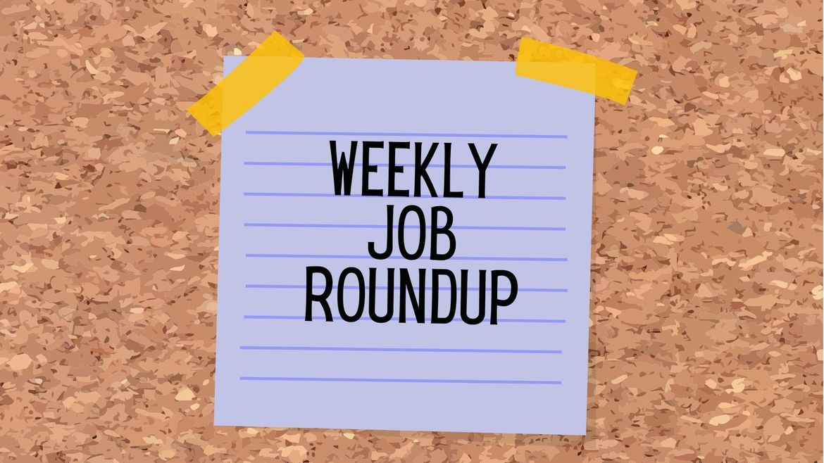 """Cover Photo: This graphic has a background that looks like a cork board. In the center, there is a purple sticky note with the words, """"weekly job roundup"""""""