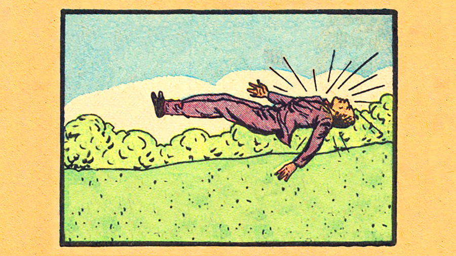 Cover Photo: A collage by Johnny Damm made from a vintage comic book. The collage is of a white man in a purple suit floating in the air above a field of green. He appears to be jumping backwards, facing up toward the sky with lines coming from his body representing movement.