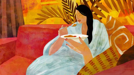 Cover Photo: illustration of a young woman with long black hair sitting on a red sofa in a white bathrobe, holding a spoon in one hand and a bowl of vegetable tuna curry with rice in the other