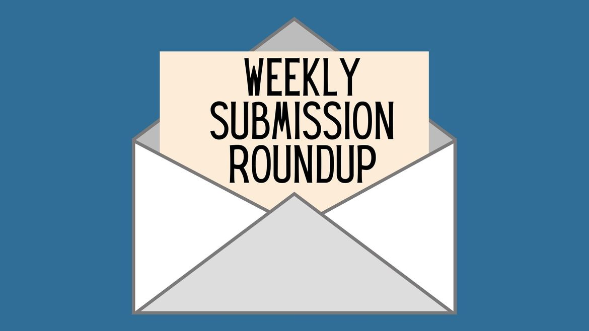 """Cover Photo: This graphic has a blue background with a gray and white envelope in the middle. A piece of paper sticking out of the envelope reads """"Weekly Submission Roundup"""""""