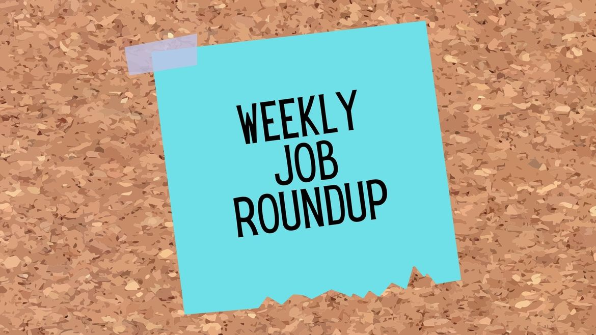 """Cover Photo: This graphic has a background that looks like a cork board. In the center of the image, there is a blue sticky note that reads """"Weekly Job Roundup"""""""