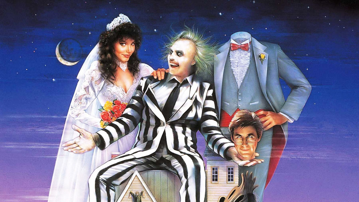 Cover Photo: A detail from the movie poster for the film Beetlejuice, depicting the titular character with a bride and a decapitated groom