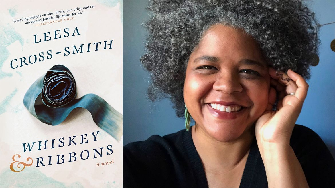 Cover Photo: On the right, we see the cover of the author's novel, 'Whiskey & Ribbons,' and on the left we see a headshot of the author. She is smiling, with one hand up to her cheek and her curls in an up-do.